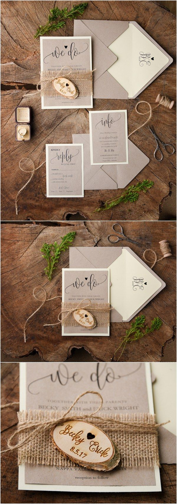 Rustic burlap and real wood wedding invitations @4LOVEPolkaDots