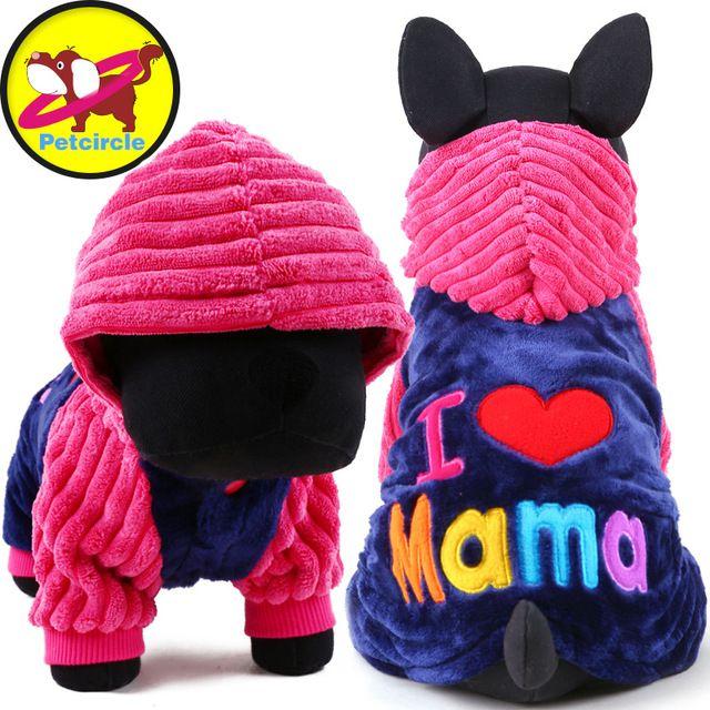 2017 Petcircle Мода Я люблю папа и мама зимой Собаку Одежда Для Домашних Животных Маленький Большой Собаки Пальто Куртки для чихуахуа