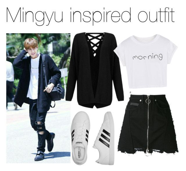Mingyu Inspired outfit by nailanurull on Polyvore featuring polyvore fashion style Miss Selfridge WithChic County Of Milan adidas clothing #mingyu #seventeen #kpop
