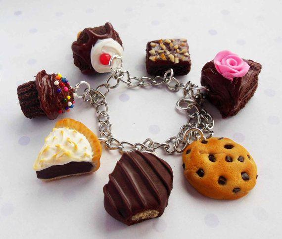 Polymer Clay Charm Bracelet: Chocolate Theme Polymer Clay Charm Bracelet By