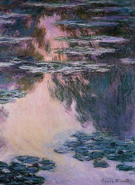 """""""Water Lilies"""" est mon faveri parce que c'est très joli et comment les couleurs refléter sur l'eau. Aussi """"Water Lilies"""" rappelle moi de ma grandmere. C'est une peinture impressionniste a cause des gros brosse coup."""