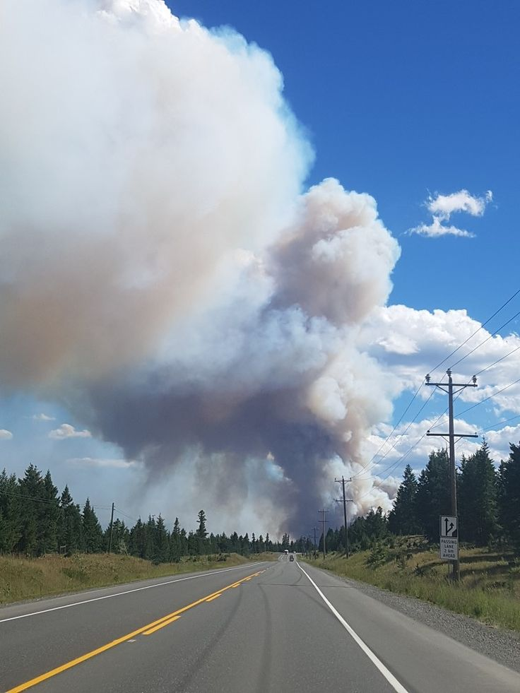 Elephant hill wildfire smoke heading south towards Clinton B.C, B.C wildfires 2017
