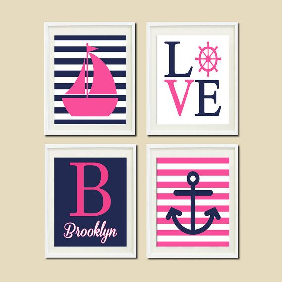 Pink Navy Nautical Nursery Wall Art Sailboat Love Captains Wheel Anchor Monogram Set of 4 Prints Artwork Baby Girl Bedroom Decor Picture