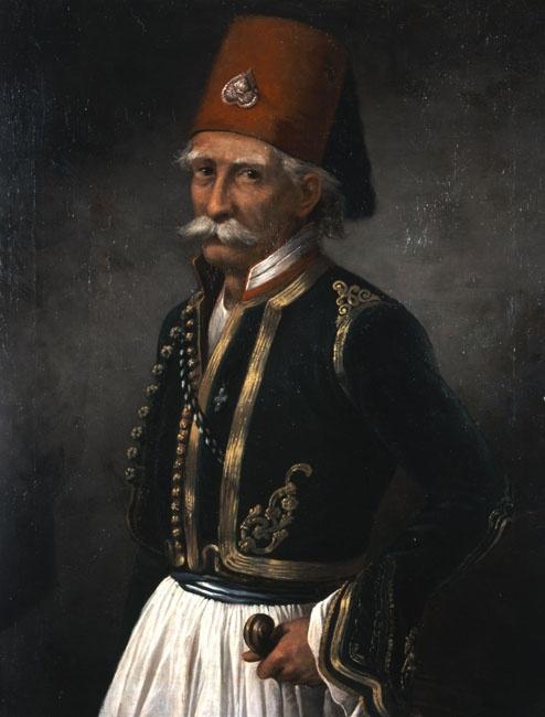 Προσαλέντης Σπυρίδων (1830 - 1895)  Προσωπογραφία του αγωνιστή Παναγιώτη Γιατράκου  Λάδι σε μουσαμά. Συλλογή Ιδρύματος Ε. Κουτλίδη.  Prosalendis Spyridon (1830 - 1895)  Portrait of the Fighter Panagiotis Giatrakos  Oil on canvas.E. Koutlidis Foundation Collection