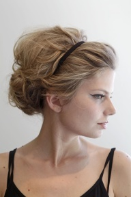 Messy teased bun with headband