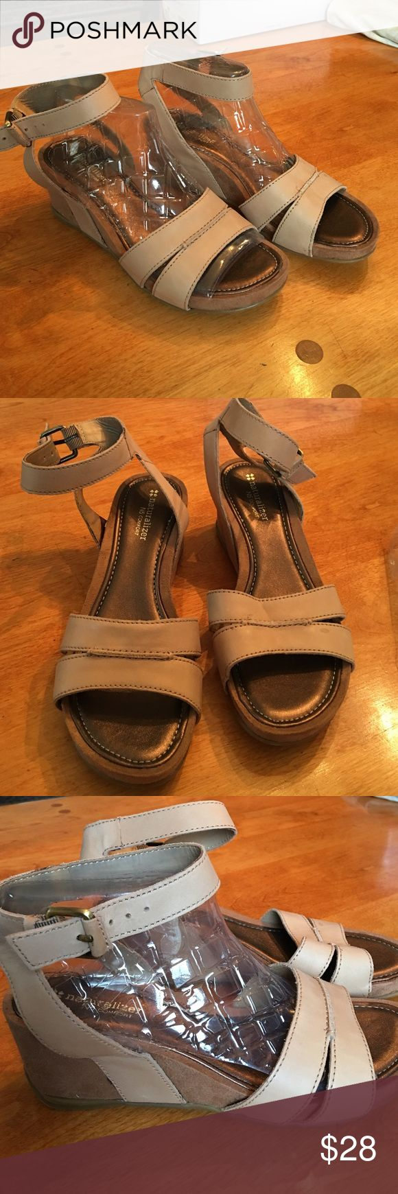 Naturalizer Wedge sandals Cute and comfortable Wedge sandals. Upper leather with suede wedges. Never worn! Naturalizer Shoes Sandals