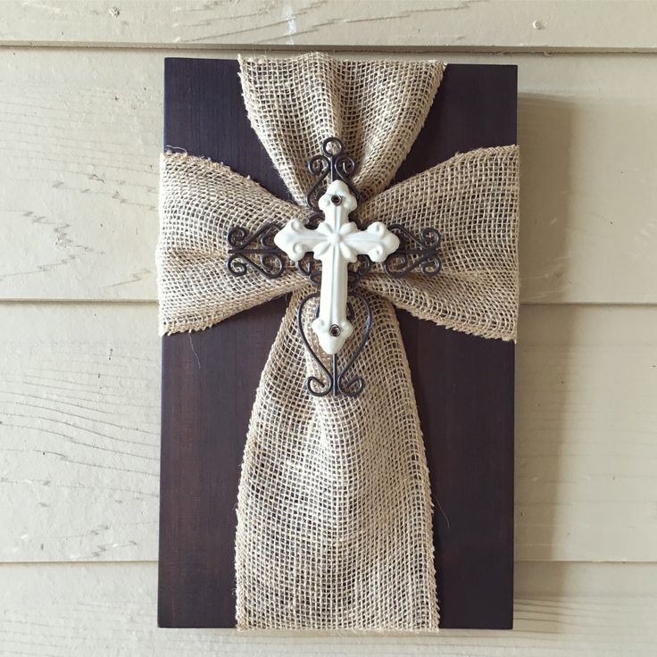 Tan Burlap Cross with Small White Cross Center by TheBurlapCross1 on Etsy https://www.etsy.com/listing/466600122/tan-burlap-cross-with-small-white-cross