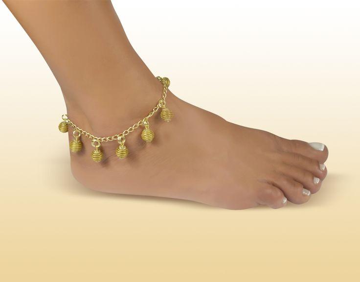 Tornozeleira Colméias - Brasil Capim Dourado. Você encontra na nossa loja virtual! http://www.brasilcapimdourado.com/eco-joias/tornozeleiras/tornozeleira-colmeias/
