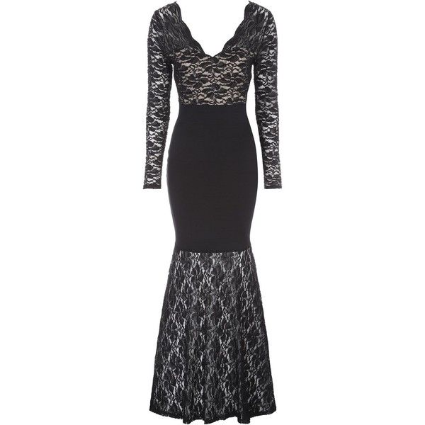 Jane Norman Black Lace Bandage Maxi Dress (€57) ❤ liked on Polyvore featuring dresses, gowns, black, clearance, long sleeve maxi dress, long-sleeve maxi dresses, sexy evening dresses, lace maxi dress and long sleeve gowns