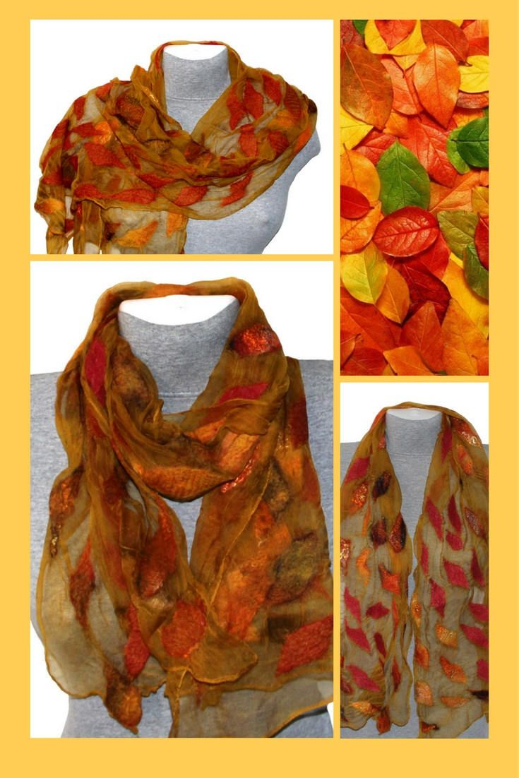 Nuno Felted Scarf Shawl Autumn Fall Yellow Red Felted Women