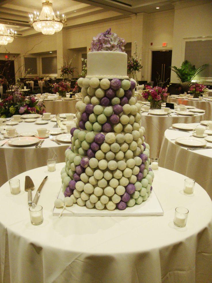 Wedding Cake-Pop Tower with gumpaste hydrangea