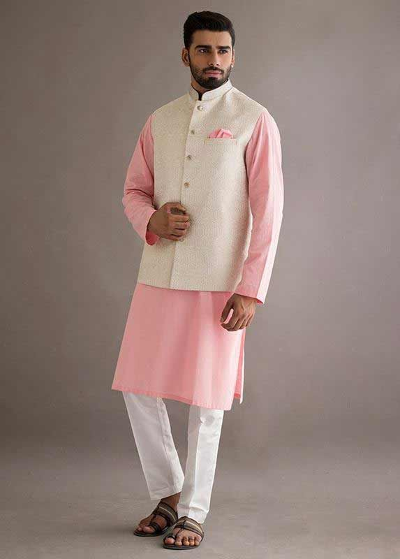 Off white waistcoat with baby pink and white kurta pajama designs 2017 for  men in Pakistan f43710698