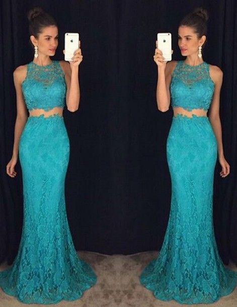 2 Piece Prom Gown,Two Piece Prom Dresses,2 Pieces Party Dresses,Lace Evening Gowns,Formal Dress For Teens