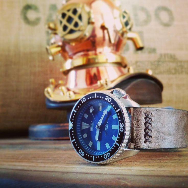 #seiko #seikoscuba #leatherstrap #handmade #seikowatch #diving #vintagestrap #divinghelmet
