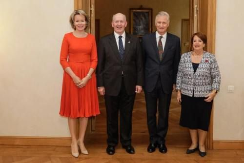 King Philippe and Queen Mathilde met with His Excellency Peter John Cosgrove, Governor General of the Commonwealth of Australia, and Lady Peter Cosgrove on September 25, 2017 .