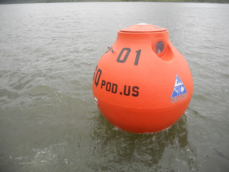 The RES-Q pod (Reliable Emergency Shelters) Tsunami survival pod in the water.  Doing some testing with the onboard bilge pump.  If any water does get on board it does not stay.