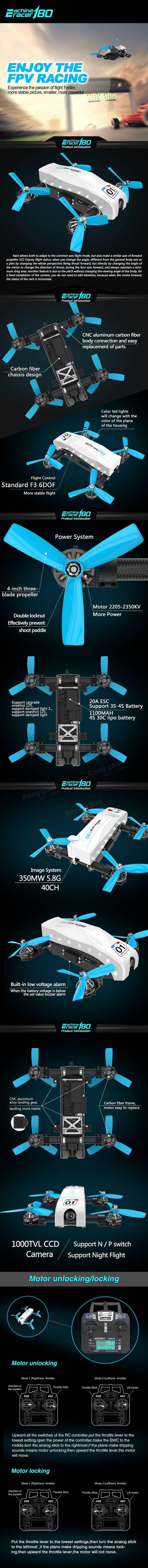 Eachine Racer 180 Tilt Rotor FPV Drone F3 350mW 5.8G 40CH VTX w/ I6 RTF(20% off coupon code:RA180)