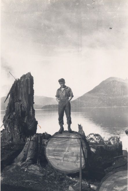 Len Whalen, the artist, around 1928 working in his father's logging show on the west coast of Vancouver Island, BC.