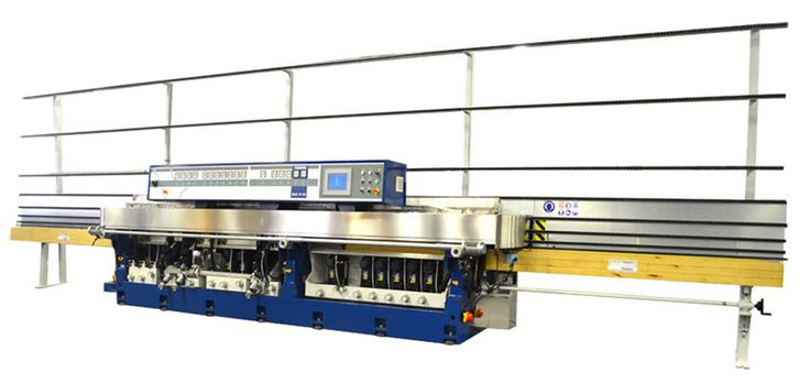 The Bovone ELB 17/45 is the top of the Bovone range. It is a 17 wheel machine for producing flat and arris profile with a variable mitring group upto 45 degrees and cerium polish. There are 6 mitring wheels attached to the swivelling beam. The main movements of the machine are controlled by PLC...