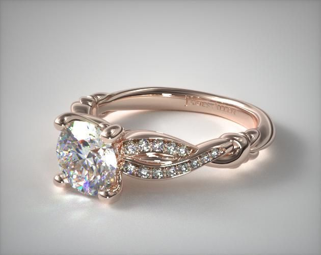 14k rose gold pave crossover engagement ring