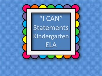 """I CAN"" Statements KINDERGARTEN - ELA: Common Cores Ela, Statement Kindergarten, Ela Standards, Cores Galor, Teaching Ideas, Kindergarten Common Cores, Ela Ideas, Kindergarten Ela, Classroom Ideas"