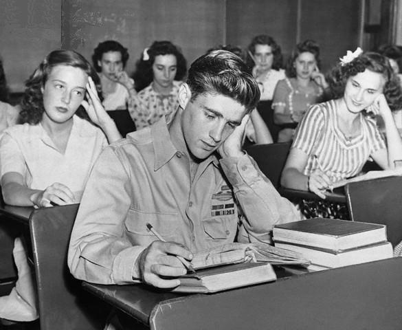 I love that he is a class of all girls. WWII hero returns to school. Peckville, PA (1945)