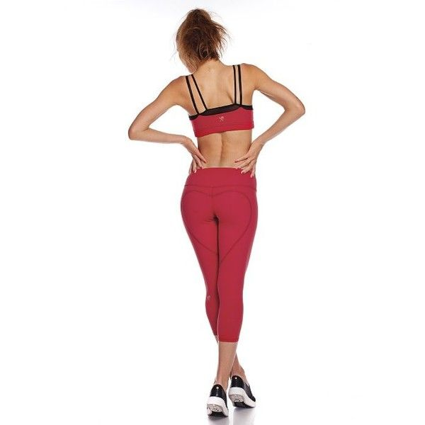 NINA.B.ROZE HEART BUTT CAPRI ($70) ❤ liked on Polyvore featuring activewear, activewear pants, deep red, yoga activewear e athletic sportswear