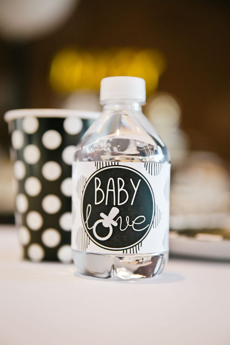 The details of this baby shower brunch are so sweet! We love all the black and white decorations.