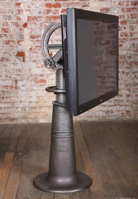 1stdibs.com | Vintage Industrial Adjustable Flat Screen TV Stand