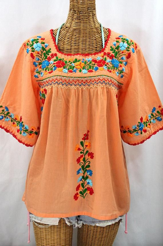 6e372d69727a78 Mexican Peasant Blouse Top Hand Embroidered