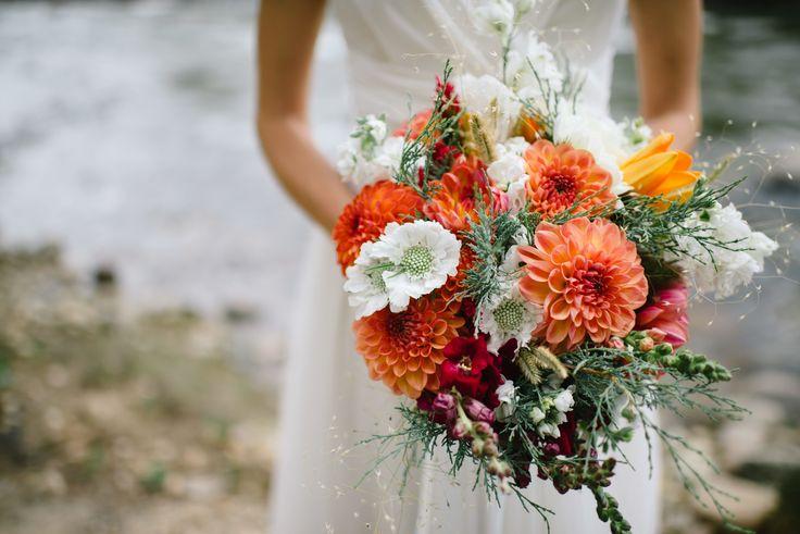 Colorful Dahlia and Scabiosa Bridal Bouquet