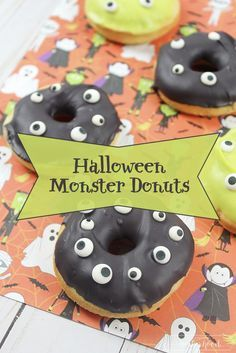Halloween monster donuts you can make with boxed cake mix! #halloween #party #donuts