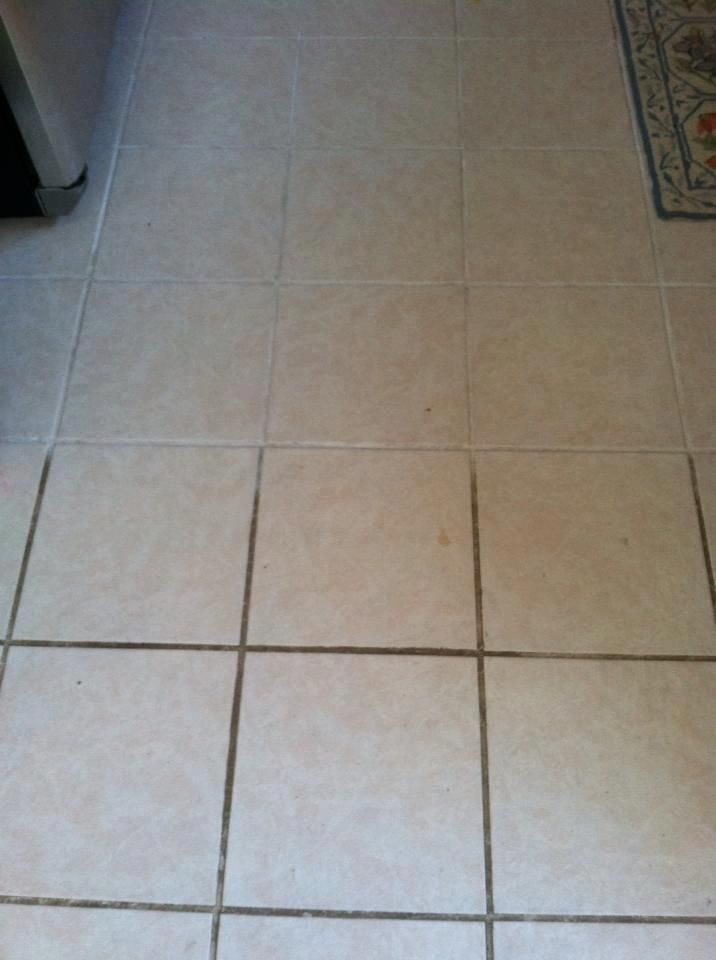 Tile grout cleaned with Norwex Cleaning Paste !