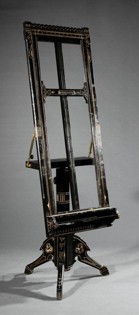 Lot:Ripka & Co. Ebonized Gilt Incised Artist's Easel, Lot Number:614, Starting Bid:$1000, Auctioneer:Neal Auction Company, Auction:3…