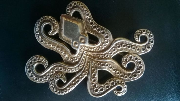 COLLECTIBLE GREEK BROOCH PIN ANCIENT OCTOPUS ZOLOTAS 950 STERLING SILVER #Handmade