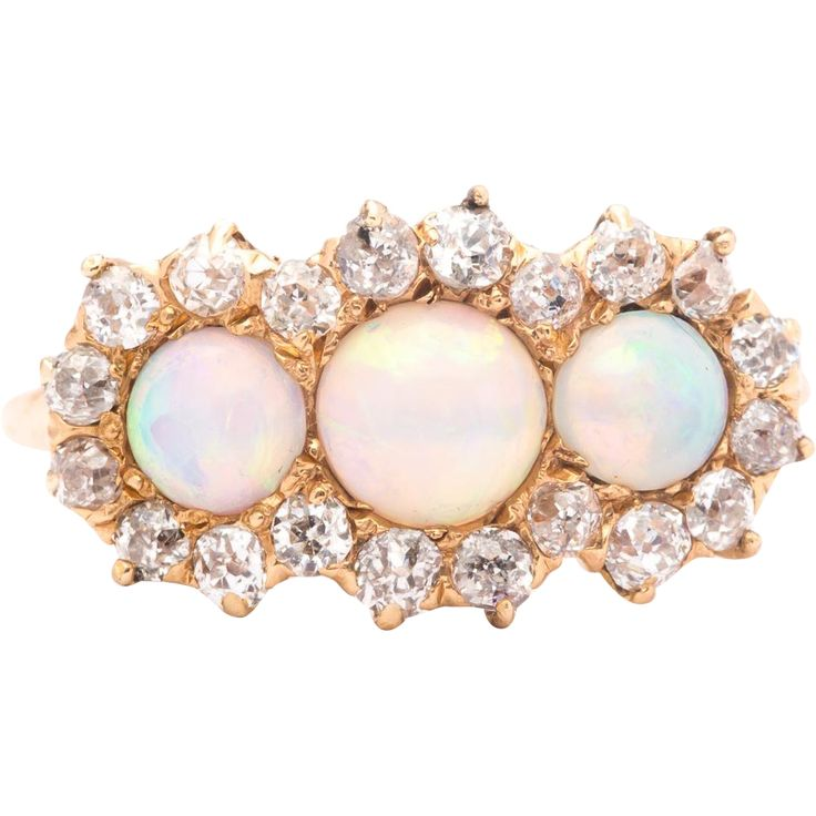 Sale! Exceptional Victorian Lightning Ridge Opal & Diamond Ring in 14K Yellow Gold