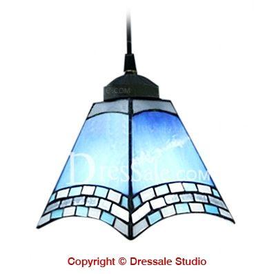 Blue White Tiffany Designed Style Mini Pendant Light Mediterranean Lamp