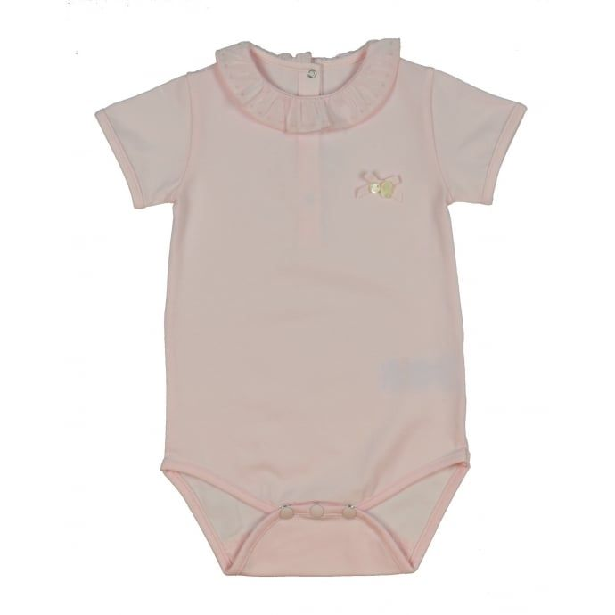 Tartine Et Chocolat Baby Girls Babygrow In Light Pink with Frill Collar. Now available at www.chocolateclothing.co.uk