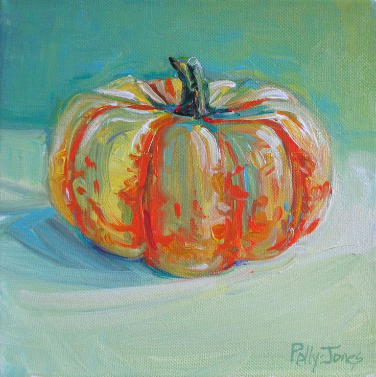 Small Wonders Daily Paintings by Polly Jones: Lazy Day Pumpkin original painting by Polly Jones