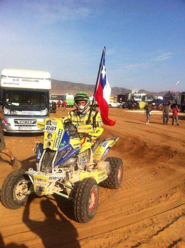 Ignacio Casale llegando a la última etapa del Dakar 2014.