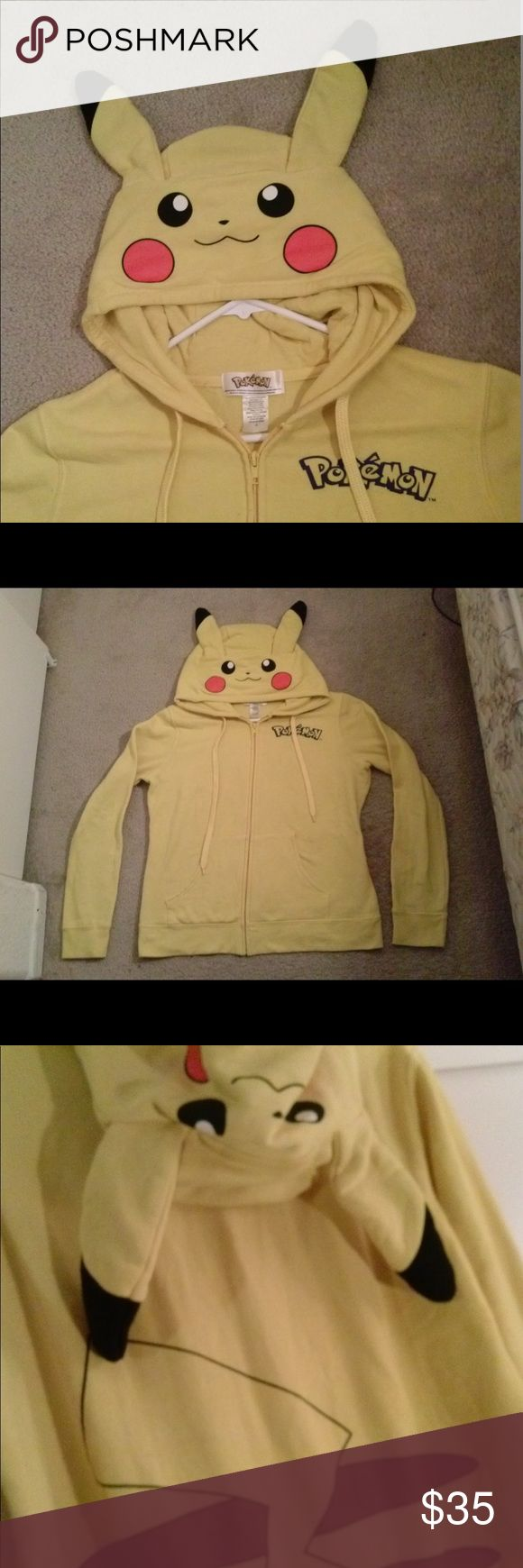 1 Pokémon Pikachu Hoodie Sweatshirt Great condition. No flaws. Free shipping   Size.        M  Length 28 inches Pit.to.pit  17 inches Inseam. 19.5 inches Pokemon Tops Sweatshirts & Hoodies