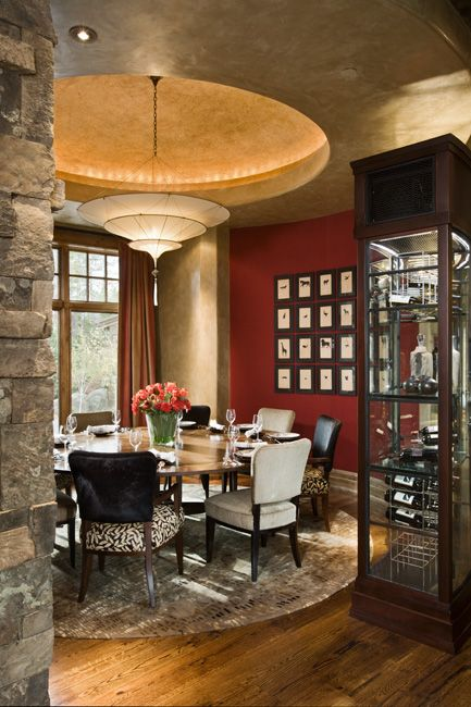 Chic Dining Room Unique Dome with LED back lighting.