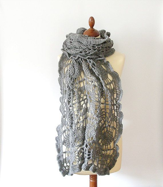 Grey Lace Shawl Stole Crochet Lace Scarf by callmemimi on Etsy, €120.00
