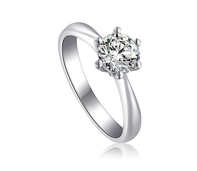 Solitaire Six Claw Titanium Engagement Ring with Swarovski Crystal