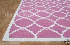 Brand New Lattice Scroll Pink White 3x5 5x3 Handmade Woolen Area Rug Carpet Sale