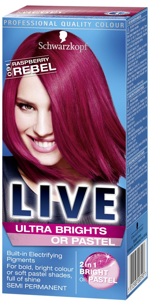 LIVE Ultra Brights or Pastel Raspberry Rebel, pink hair dye