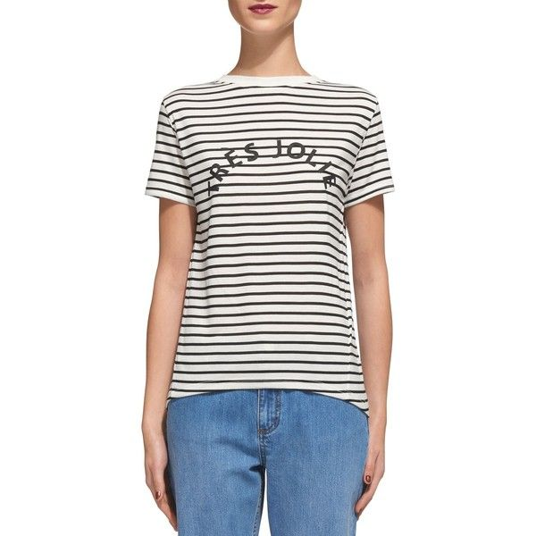 Whistles Striped Graphic-Print Tee ($91) ❤ liked on Polyvore featuring tops, t-shirts, whistles tops, white tee, white top, white stripes t shirt and white t shirt