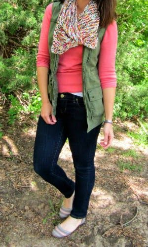 Old Navy military green cargo vest + coral sweater + print scarf