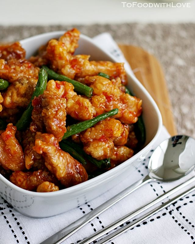Sweet Chilli Fried Chicken with French Beans