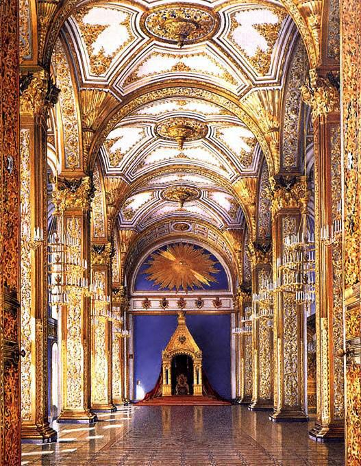 Interior of the Grand Kremlin Palace, Moscow, Russia. Built between 1838 and 1849 in neo-Byzantine style by architect Konstantin Thon.
